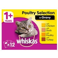 WHISKAS 1+ Cat Pouches Poultry Selection in Gravy 12 x 100g