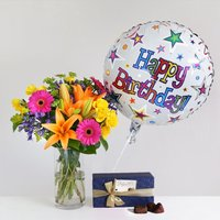 Happy Birthday Gift Set - flowers - Flower Bouquet Gifts