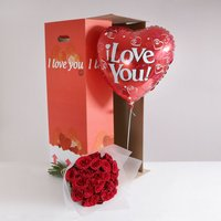 24 Burgundy Roses 'I Love You' Gift Set - flowers - Arena Flowers Gifts