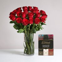 Two Dozen Burgundy Roses with FREE Chocolates - flowers - Arena Flowers Gifts