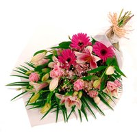 Pink Gift Wrap - flowers - Flower Bouquet Gifts