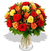 35 Magnificent Orange, Red & Yellow Roses - flowers - Flower Bouquet Gifts