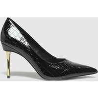 Schuh Black Sky Patent Croc Point High Heels