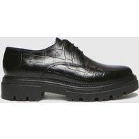 Schuh Black Libra Croc Leather Lace Up Flat Shoes