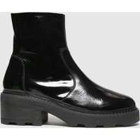 Schuh Black Ally Patent Leather Chunky Boots