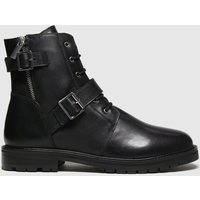 Schuh Black Aurora Leather Buckle Lace Up Boots