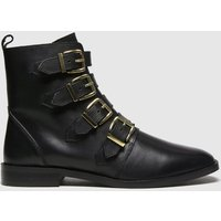 Schuh Black Camilla Leather Multi Buckle Boots