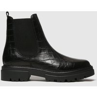 Schuh Black Arlo Croc Leather Ankle Boots