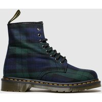 Dr Martens Navy and Green 8 Eye Tartan Canvas Boots
