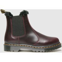 Dr Martens Burgundy Dm Leonore Fur Lined Chelsea Boots