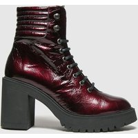 Schuh Burgundy Ashton Chunky Leather Lace Up Boots