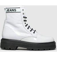 Tommy Hilfiger White & Black Patent Leather Flatform Boots