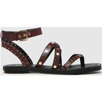 Schuh Burgundy Tale Studded Strappy Sandal Sandals
