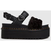 Dr Martens Black Voss Quad Fluffy Sandals