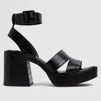 Shellys London Black Sallie Heeled Sandals