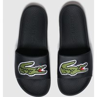 Lacoste-Black-and-Green-Croco-Slide-Sandals