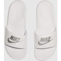Nike-White-and-Silver-Benassi-Slide-Sandals