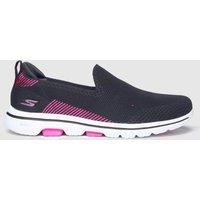 SKECHERS Black & Pink Go Walk 5 Prized Trainers