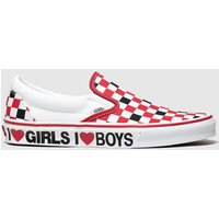 Vans White & Red Classic Slip-on I Heart Trainers