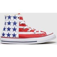 Converse White & Red Cons Ctas Hi Bars&stripes Jnr Trainers Junior