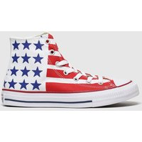 Converse White & Red All Star Hi Bars & Stripes Trainers Youth