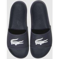 Lacoste Navy & White Croco Slide Sandals