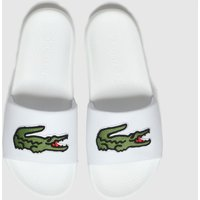Lacoste-White-and-Green-Croco-Slide-Sandals