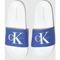 CALVIN KLEIN White & Blue Viggo Sandals