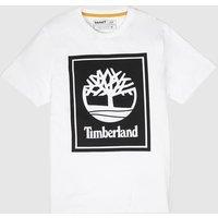 Clothing Timberland White & Black Stack Logo Tee