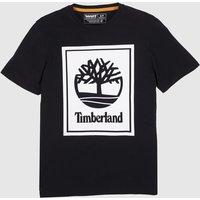 Clothing Timberland Black & White Stack Logo Tee