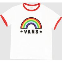 Clothing Vans White & Red Girls Rainbow Patch