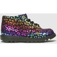 KicKers Black & Pink Hi Leopard Boots Junior