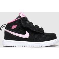 Nike Jordan Black & Pink 1 Mid Trainers Toddler