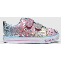 SKECHERS Pink Shuffle Lite Leopard Trainers Toddler