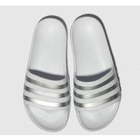 Adidas White & Silver Adilette Aqua Sandals Junior