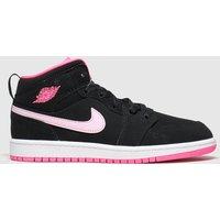 Nike Jordan Black & Pink 1 Mid Trainers Junior