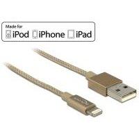 DeLOCK - iPad-/iPhone-/iPod-Lade-/Datenkabel - Lightning / USB2.0 - USB Typ A, 4-polig (M) - Lightning (M) - 1,0m - (USB/USB2.0) - Gold - für Apple iPad Air, iPad Air 2, iPad mini, iPad mini 2, 3, 4, iPad Pro, iPad with Retina display, iPhone 5, 5c, 5s, 6, 6 Plus, 6s, 6s Plus, iPod nano (7G), iPod touch (5G, 6G) (83770)