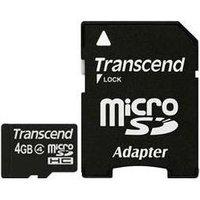 Transcend - Flash-Speicherkarte (microSDHC/SD-Adapter inbegriffen) - 4GB - Class 4 - microSDHC (TS4GUSDHC4)