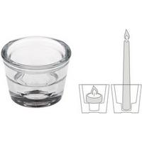 PAPSTAR Kerzenhalter Two in One, aus Glas, Höhe: 45 mm Durchmesser: 60 mm, für Leuchterkerzen und Teelichte - 24 Stück (82311)