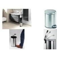 DURABLE Tret-Abfalleimer Edelstahl, rund, 5 Liter, silber aus Edelstahl, herausnehmbarer Innen-Eimer mit Henkel, - 1 Stück (3400-23)