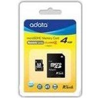 ADATA - Flash-Speicherkarte (microSDHC/SD-Adapter inbegriffen) - 4GB - Class 4 - microSDHC (AUSDH4GCL4-RA1)