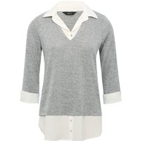 Women's Ladies grey two in one shirt jumper mock shirt v neck collar hem three quarter sleeves knit