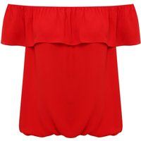 Women's Ladies plain jersey short sleeve off shoulder Double layer Bardot top