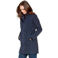 Women's Ladies long sleeve funnel neck popper button fastening winter Chevron quilted coat