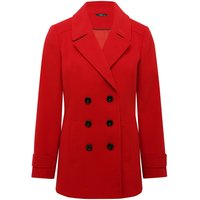 Women's Ladies plain long sleeve double breasted button front fastening winter red pea coat