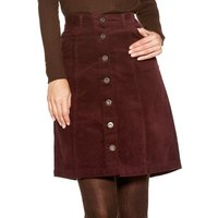 Womens Ladies plain button through a line structured casual cord skirt