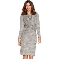 Women's Ladies long sleeve gathered side pull on metallic space dye shift dress