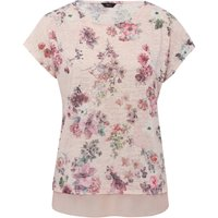 Women's Ladies Short Sleeve Scoop Neck Sheer Chiffon Trim Pink Floral Print Sequin Embellished Casua