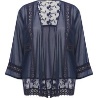 Women's Ladies Three quarter length sleeves Sheer mesh crochet floral lace panel kimono cover up jacket