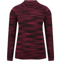 Women's Ladies burgundy red long sleeve roll neck cosy space dye ribbed trim jumper